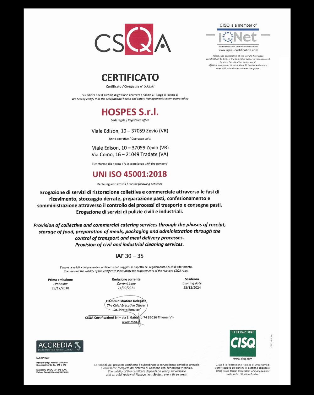 Csqa Certificato
